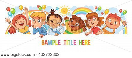 Happy Children Holding Poster. Template For Advertising Brochure. Ready For Your Message. Style Of K