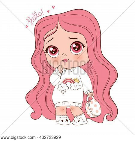 Fashion Little Girl. Illustration In Pastel Colors. Funny Cartoon Character. Vector Illustration. Is