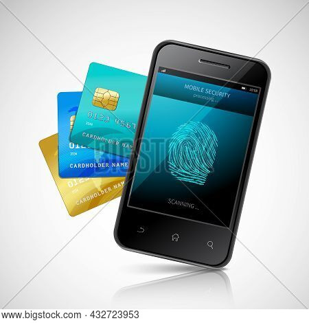 Biometric Mobile Payment Concept With Realistic Smartphone With Fingerprint Login Application And Cr