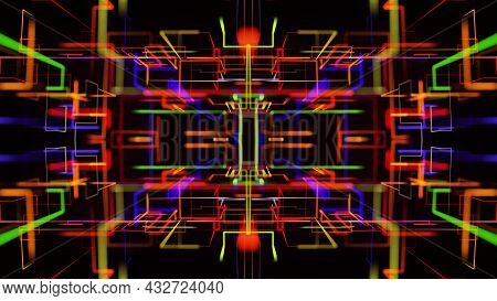 3d Render. Abstract Laser Show. Abstract Bg With Pattern Of Glow Multicolor Lines. Pattern Like Geom
