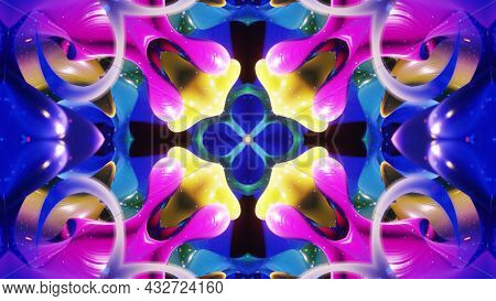 3d Render. Abstract Symmetric 3d Structures Like Liquid Kaleidoscope, Smooth Color Gradients With Gl