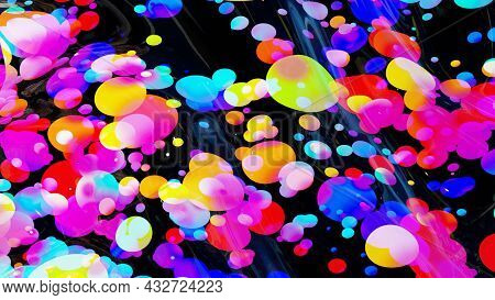 Abstract Background Of Shiny Glossy Surface Like Wavy Transparent Liquid With Rainbow Color Circles