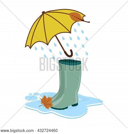 Rubber Boots Under An Umbrella From Which It Is Raining, Vector Illustration Autumn Day Rubber Birch