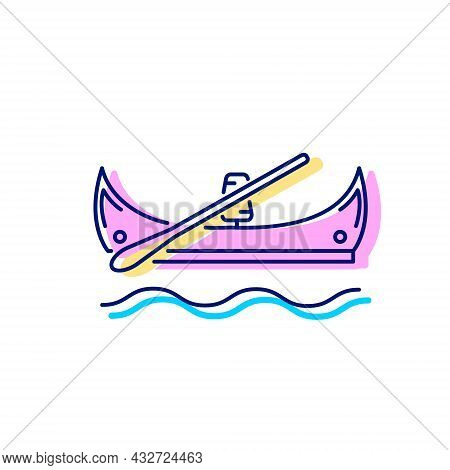 Taiwanese Canoes Flat Icon. Oriental Boat. Asian Gondola. Color Filled Symbol. Isolated Vector Stock
