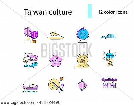 Taiwan Items Flat Icons Set. Taiwanese Features. Oyster Omlette And Seafood. Oriental National Cultu