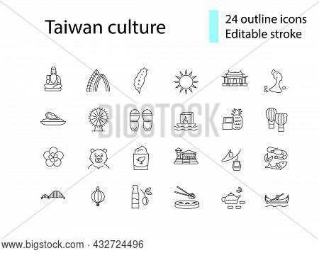 Taiwanese Culture Outline Icons Set. Taiwan Specialty. Features Of Asian National Culture. Customiza
