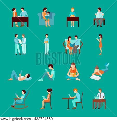 Reading People Laying Sitting And Standing Figures Set Isolated Vector Illustration