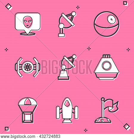Set Alien, Satellite Dish, Planet, Cosmic Ship, Space Capsule, Box Flying On Parachute And Rocket Ic