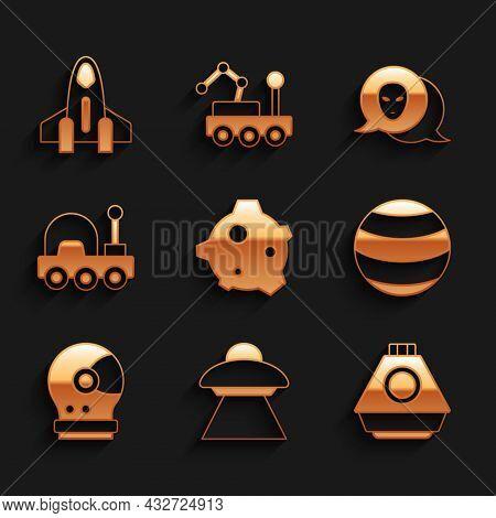 Set Asteroid, Ufo Flying Spaceship, Space Capsule, Planet, Astronaut Helmet, Mars Rover, Alien And R