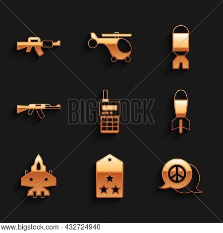 Set Walkie Talkie, Military Rank, Peace, Rocket Launcher, Jet Fighter, Submachine Gun, And M16a1 Rif