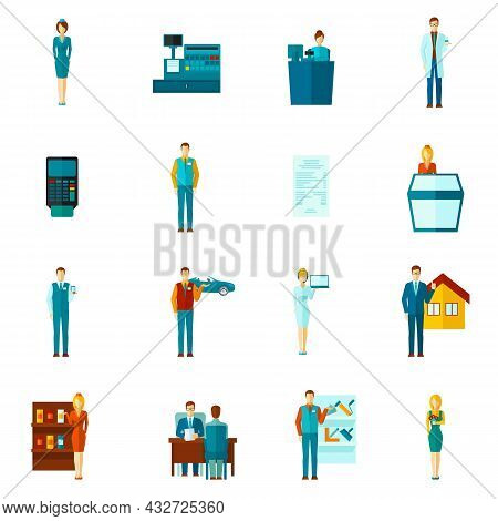 Salesman Shopman And Realtors Figures Icons Flat Set Isolated Vector Illustration