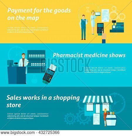 Salesmen Horizontal Banner Set With Shopping Seller Work Elements Isolated Vector Illustration