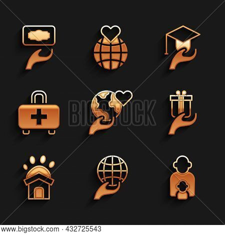 Set Hand Holding Earth Globe, Taking Care Of Children, Give Gift, Animal Shelter House, First Aid Ki