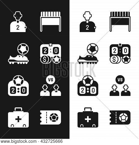 Set Football Betting Money, Shoes, Or Soccer Player, Goal, Sport Mechanical Scoreboard, Ticket And F