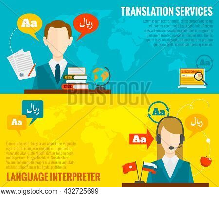 Face To Face Synchronic Translation Services And International Court Legal Interpreting Flat Banners
