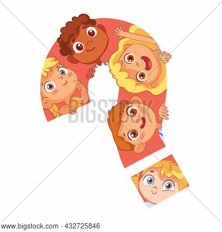 Children Look Out From A Large Question Mark. Funny Cartoon Character. Vector Illustration. Isolated