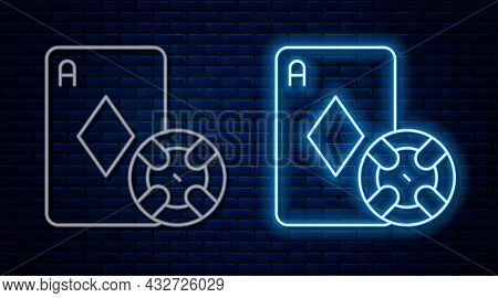 Glowing Neon Line Casino Chip And Playing Cards Icon Isolated On Brick Wall Background. Casino Poker