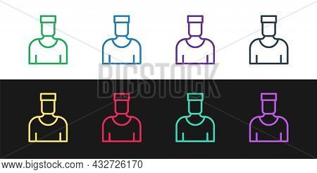 Set Line Sailor Captain Icon Isolated On Black And White Background. Vector