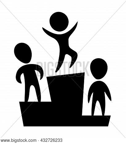 Winner Podium. Black And White Logo With Funny People. Flat Black Icon. Vector Illustration. Isolate