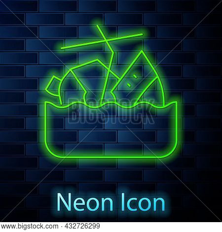 Glowing Neon Line Sinking Cruise Ship Icon Isolated On Brick Wall Background. Travel Tourism Nautica