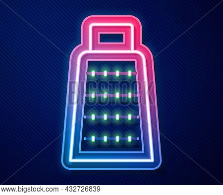 Glowing Neon Line Grater Icon Isolated On Blue Background. Kitchen Symbol. Cooking Utensil. Cutlery