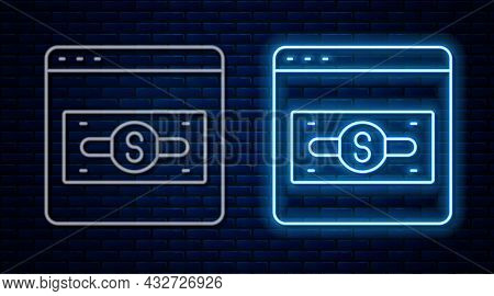 Glowing Neon Line Online Shopping On Screen Icon Isolated On Brick Wall Background. Concept E-commer