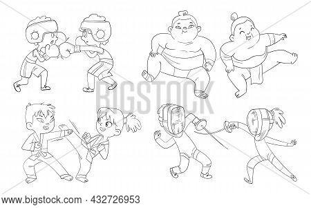 Combat Sport. Set. Boxing, Sumo, Fencing, Karate. Cartoon Characters. Funny Vector Illustration. Col