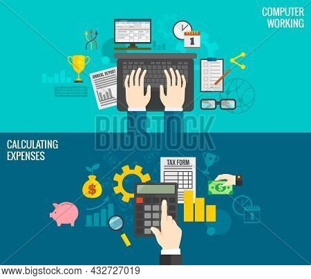 Business Horizontal Banners Set With Hands Working On Computer And Calculating Expenses Isolated Vec
