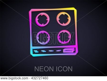 Glowing Neon Line Gas Stove Icon Isolated On Black Background. Cooktop Sign. Hob With Four Circle Bu