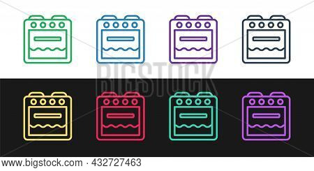 Set Line Oven Icon Isolated On Black And White Background. Stove Gas Oven Sign. Vector