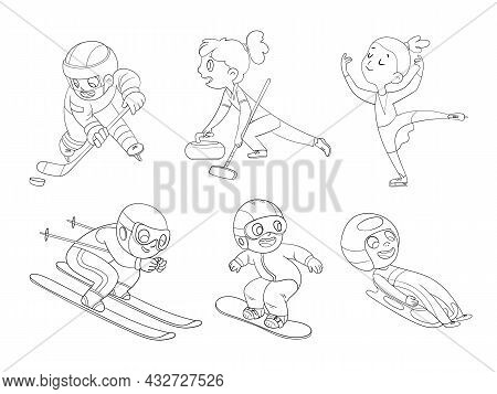 Winter Sports For Children. Skiing. Figure Skating. Snowboarding. Luge. Curling. Ice Hockey. Cartoon