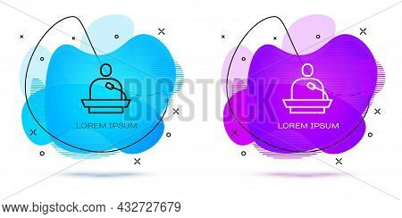 Line Gives Lecture Icon Isolated On White Background. Stand Near Podium. Speak Into Microphone. The