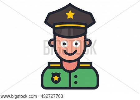 Icon Of A Smiling Police Officer On A White Background. Flat Vector Illustration