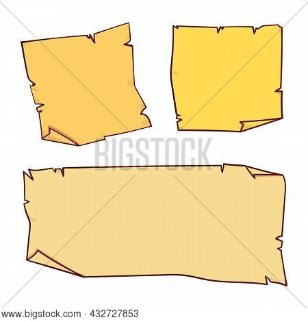 Comic Style Yellow Stickers. Ready Template For Your Design. Set. Isolated On White Background