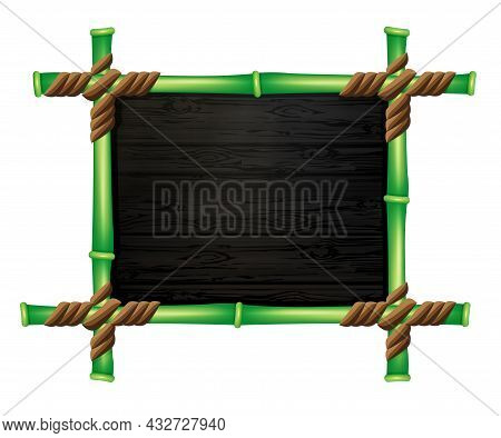 Linked Green Bamboo Frame, Wood Texture Wave Patterns, Design Element.