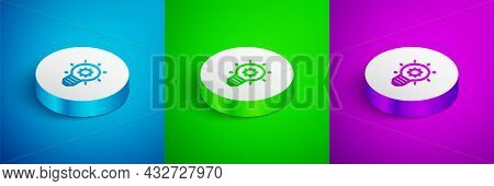 Isometric Line Light Bulb With Concept Of Idea Icon Isolated On Blue, Green And Purple Background. E