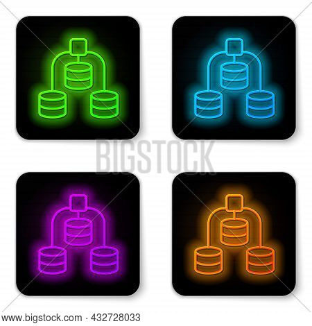 Glowing Neon Line Server, Data, Web Hosting Icon Isolated On White Background. Black Square Button.