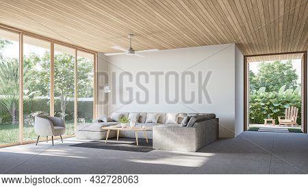 Modern Contemporary Loft Living Room With Open Door To Garden 3d Render The Rooms Have Concrete Tile