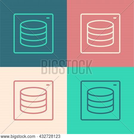 Pop Art Line Server, Data, Web Hosting Icon Isolated On Color Background. Vector