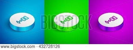 Isometric Line Algorithm Icon Isolated On Blue, Green And Purple Background. Algorithm Symbol Design
