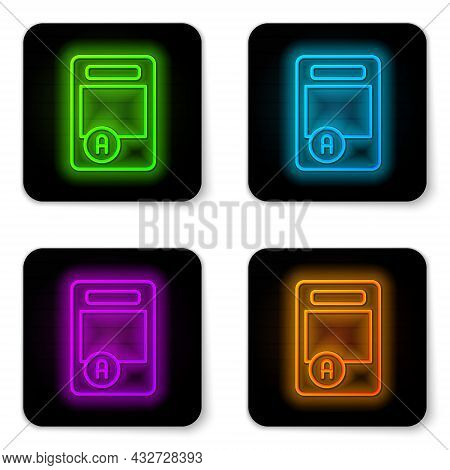 Glowing Neon Line Exam Sheet With A Plus Grade Icon Isolated On White Background. Test Paper, Exam,
