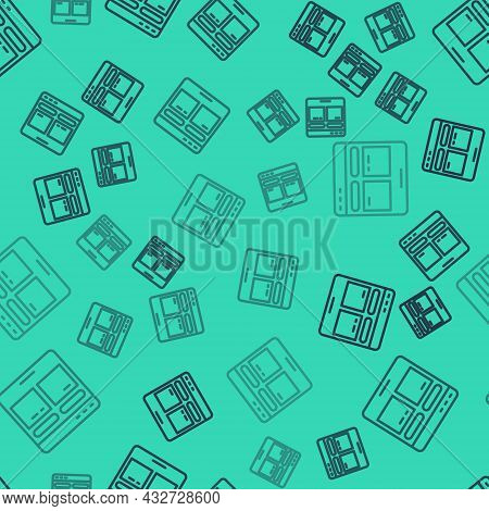 Black Line Online Translator Icon Isolated Seamless Pattern On Green Background. Foreign Language Co