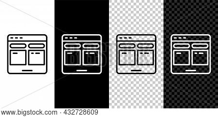 Set Line Online Translator Icon Isolated On Black And White, Transparent Background. Foreign Languag