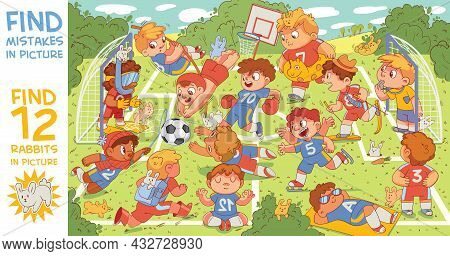 Children Are Playing Football. Find Mismatch. Find Artist Mistakes. Find 12 Rabbits In The Picture.