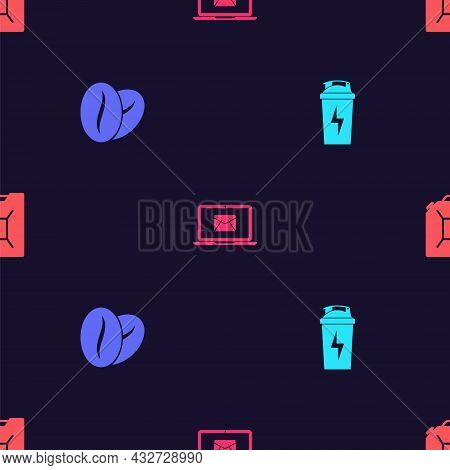 Set Fitness Shaker, Coffee Beans, Laptop With Envelope And Canister For Gasoline On Seamless Pattern