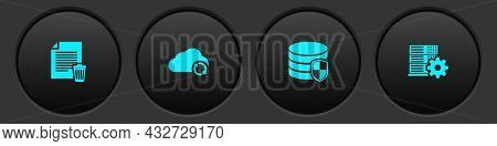 Set Delete File Document, Cloud Sync Refresh, Database Protection And Server Setting Icon. Vector