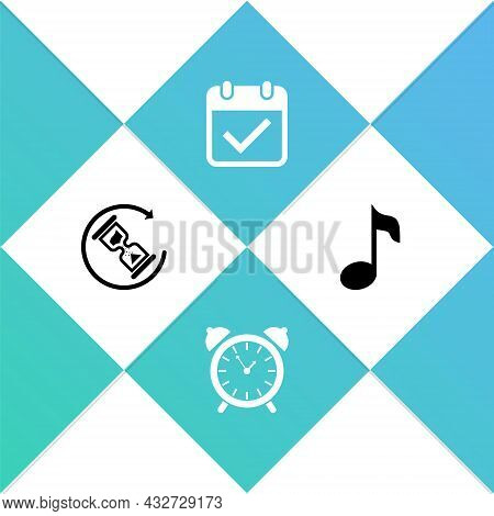 Set Waiting, Alarm Clock, Calendar With Check Mark And Music Note, Tone Icon. Vector
