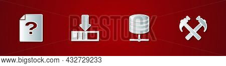 Set Unknown Document, Loading, Server, Data, Web Hosting And Two Crossed Hammers Icon. Vector