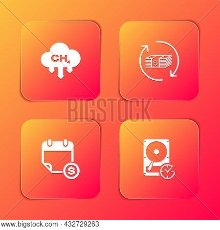 Set Methane Emissions Reduction, Refund Money, Financial Calendar And Hard Disk Drive With Clockwise