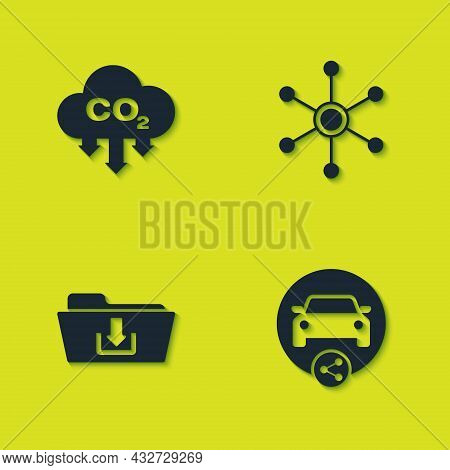 Set Co2 Emissions In Cloud, Car Sharing, Folder Download And Network Icon. Vector